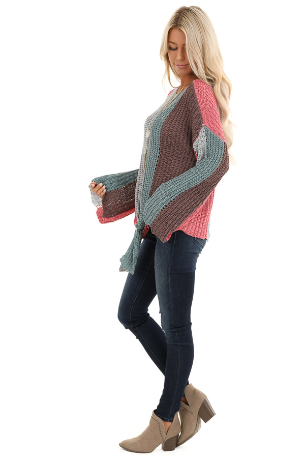 Teal and Pink Striped Knit Sweater Top with Flare Sleeves side full body