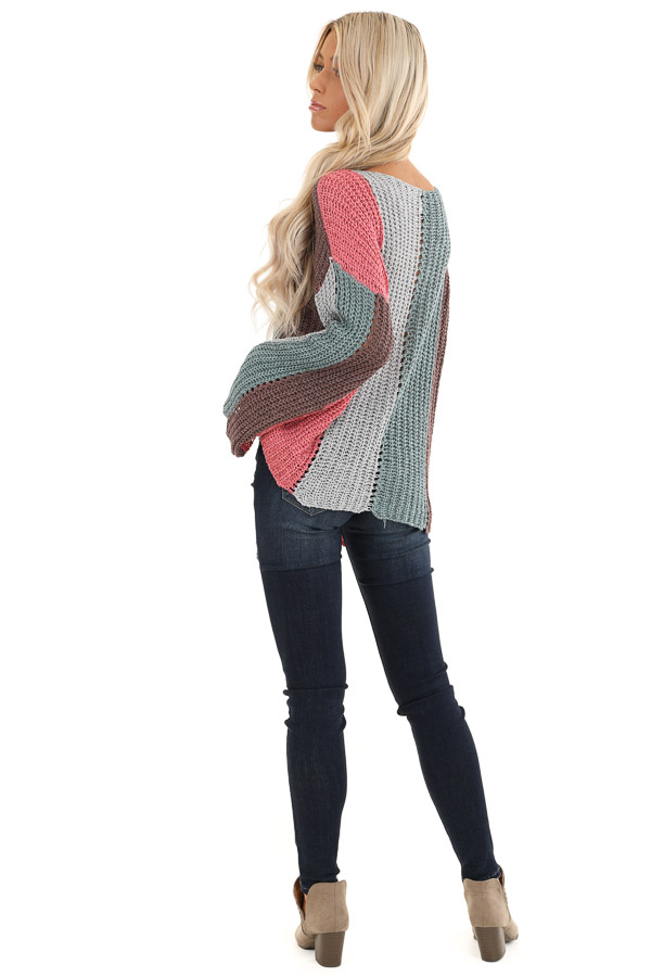 Teal and Pink Striped Knit Sweater Top with Flare Sleeves back full body