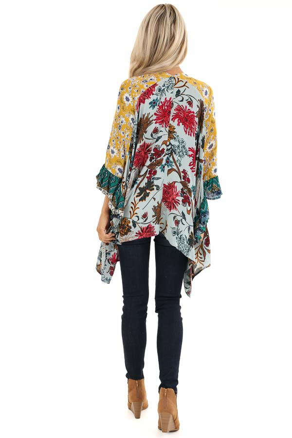 Sage and Mustard Floral Print Kimono with 3/4 Length Sleeves back full body