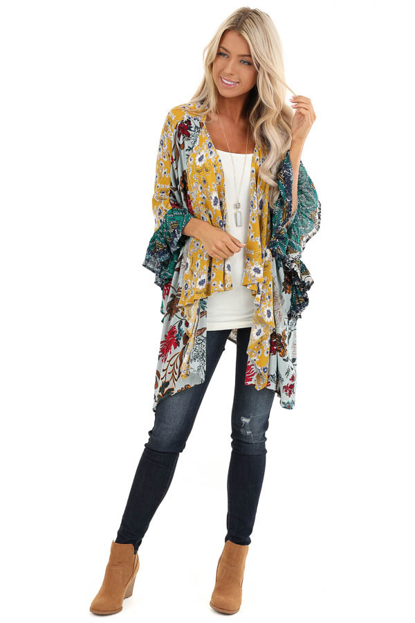 Sage and Mustard Floral Print Kimono with 3/4 Length Sleeves front full body