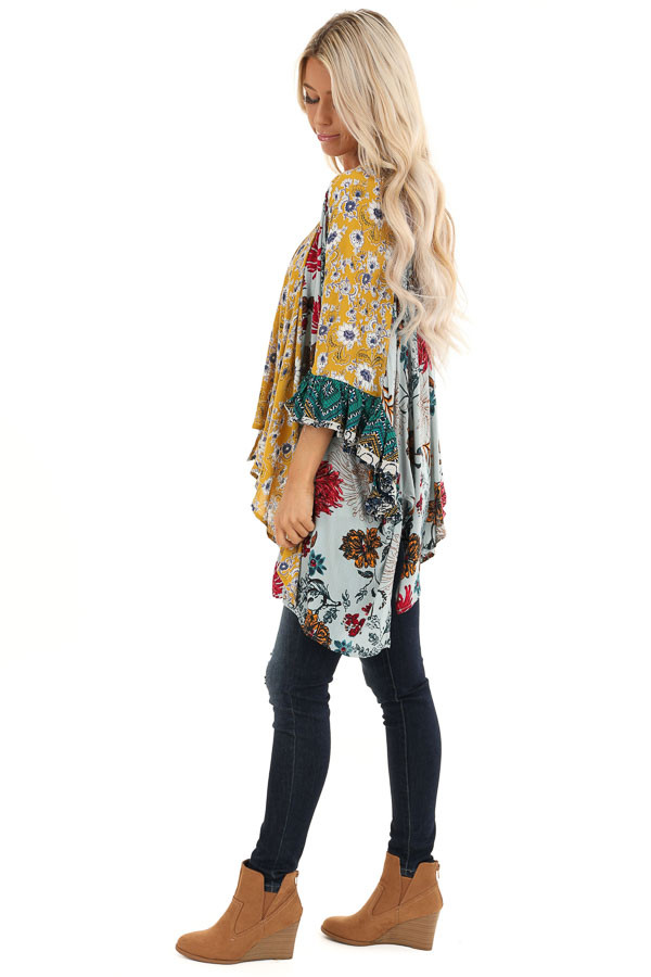 Sage and Mustard Floral Print Kimono with 3/4 Length Sleeves side full body