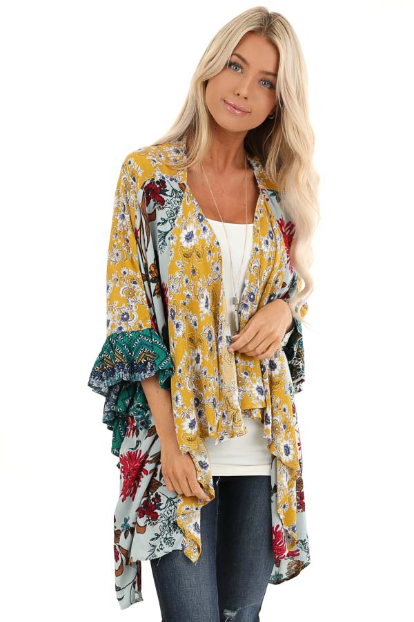 Sage and Mustard Floral Print Kimono with 3/4 Length Sleeves front close up
