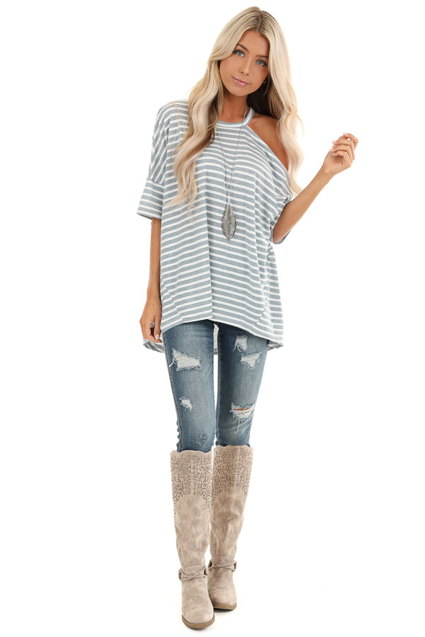 Steel Blue and Off White Striped Tee with One Cold Shoulder front full body