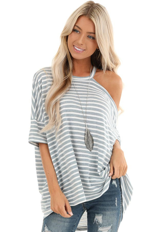 Steel Blue and Off White Striped Tee with One Cold Shoulder front close up