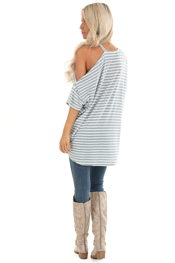 Steel Blue and Off White Striped Tee with One Cold Shoulder back full body