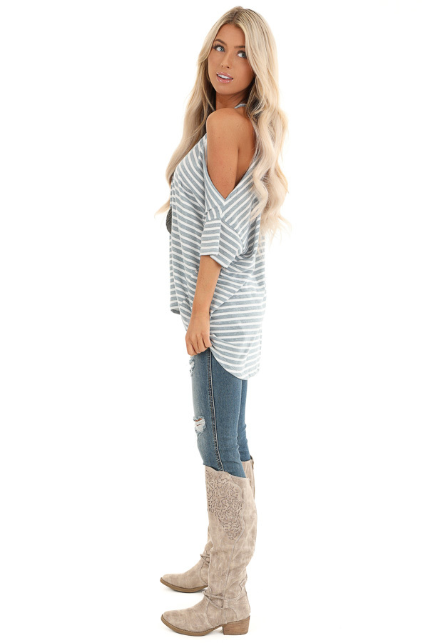 Steel Blue and Off White Striped Tee with One Cold Shoulder side full body
