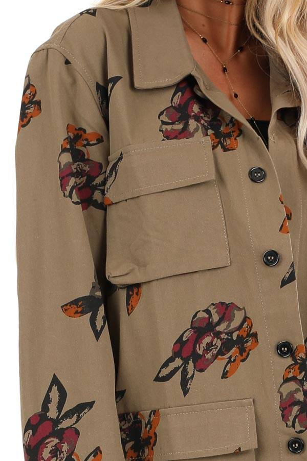 Dark Olive with Plum Floral Print Button Up Jacket detail