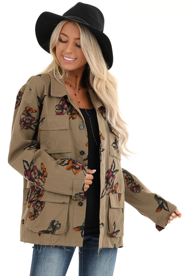 Dark Olive with Plum Floral Print Button Up Jacket front close up