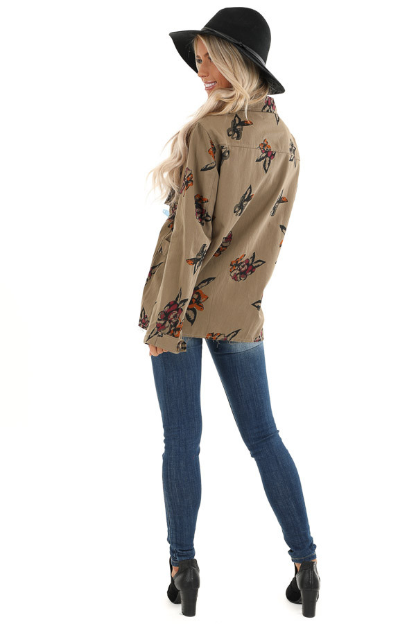 Dark Olive with Plum Floral Print Button Up Jacket back full body