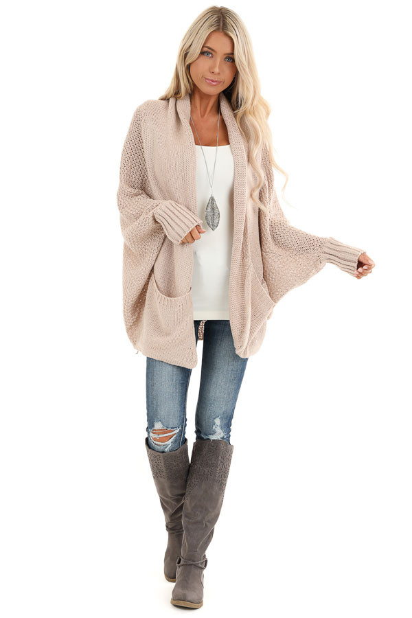 Dusty Blush Batwing Sleeve Knit Cardigan with Large Pockets front full body