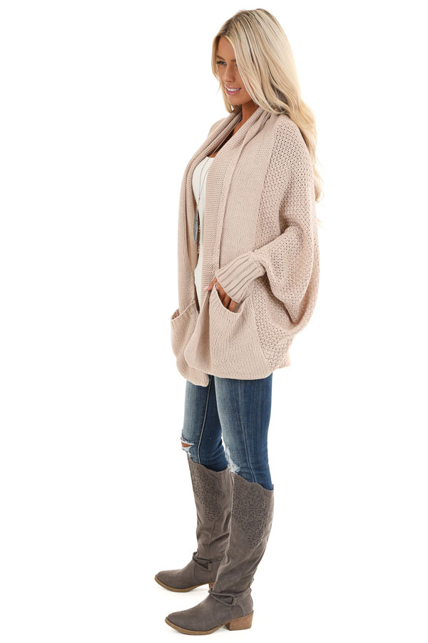 Dusty Blush Batwing Sleeve Knit Cardigan with Large Pockets side full body