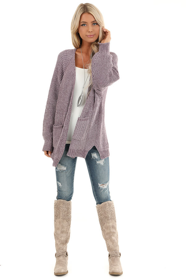 Lilac Thick Chenille Knit Cardigan with Open Front front full body