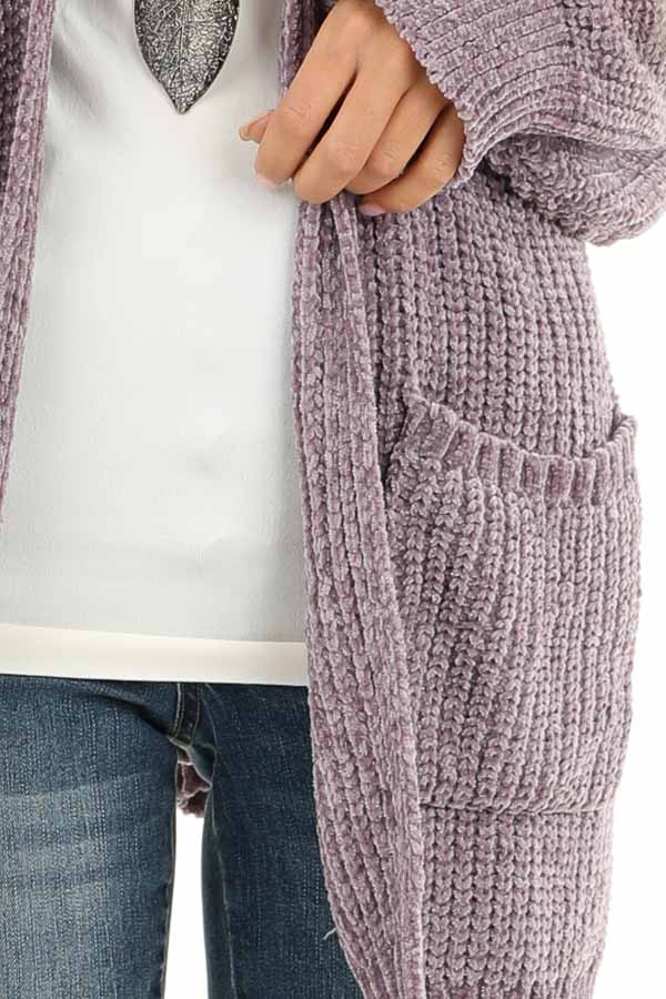 Lilac Thick Chenille Knit Cardigan with Open Front detail