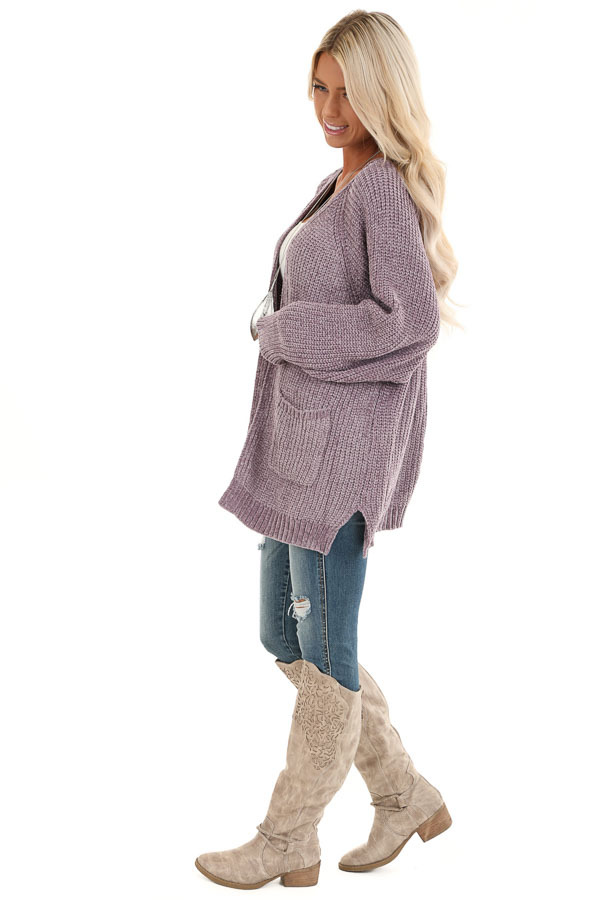 Lilac Thick Chenille Knit Cardigan with Open Front side full body