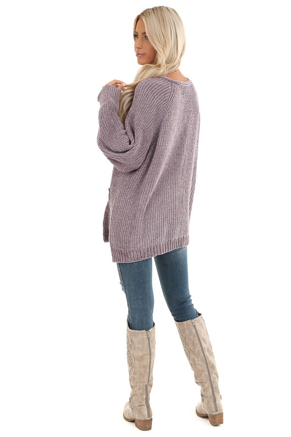 Lilac Thick Chenille Knit Cardigan with Open Front back full body
