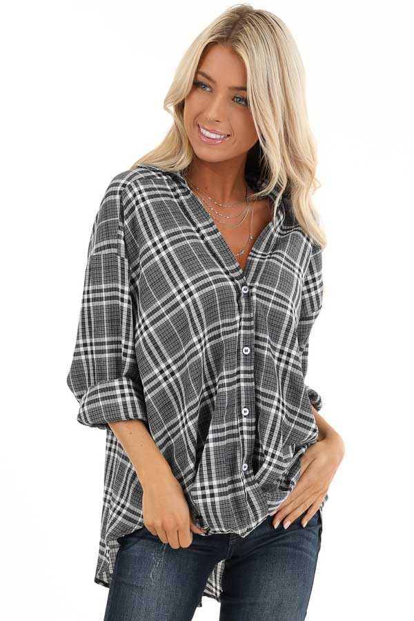 Charcoal and Pearl Plaid Button Down Top with Twisted Hem front close up