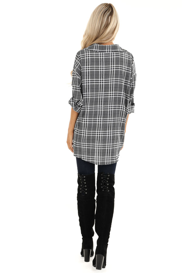 Charcoal and Pearl Plaid Button Down Top with Twisted Hem back full body