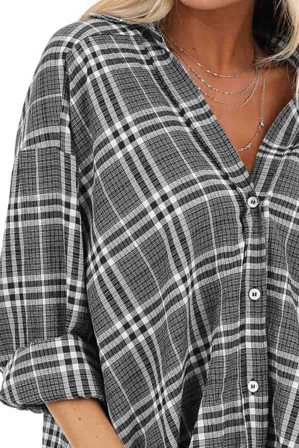 Charcoal and Pearl Plaid Button Down Top with Twisted Hem detail