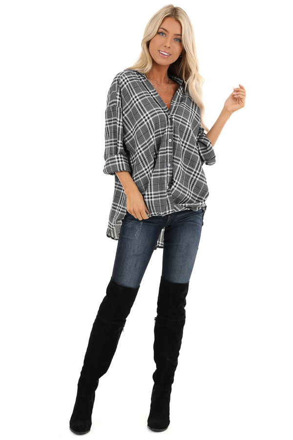 Charcoal and Pearl Plaid Button Down Top with Twisted Hem front full body