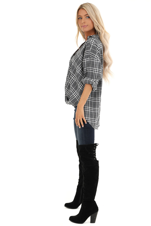 Charcoal and Pearl Plaid Button Down Top with Twisted Hem side full body