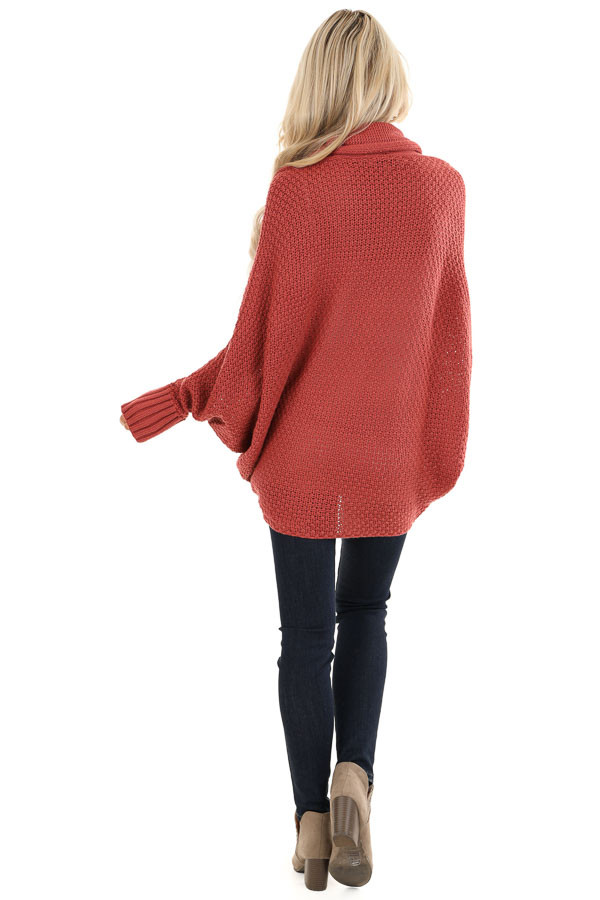 Rust Batwing Sleeve Knit Cardigan with Large Pockets back full body
