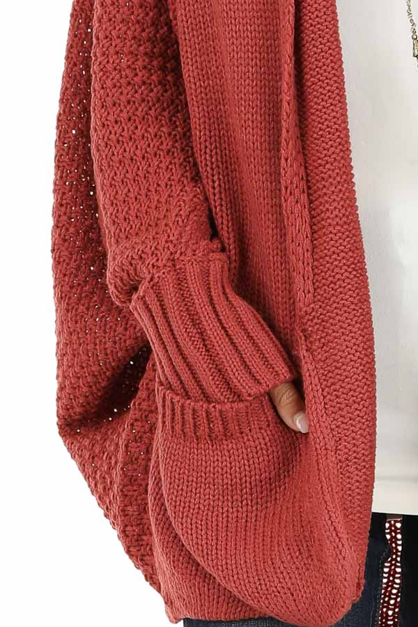 Rust Batwing Sleeve Knit Cardigan with Large Pockets detail