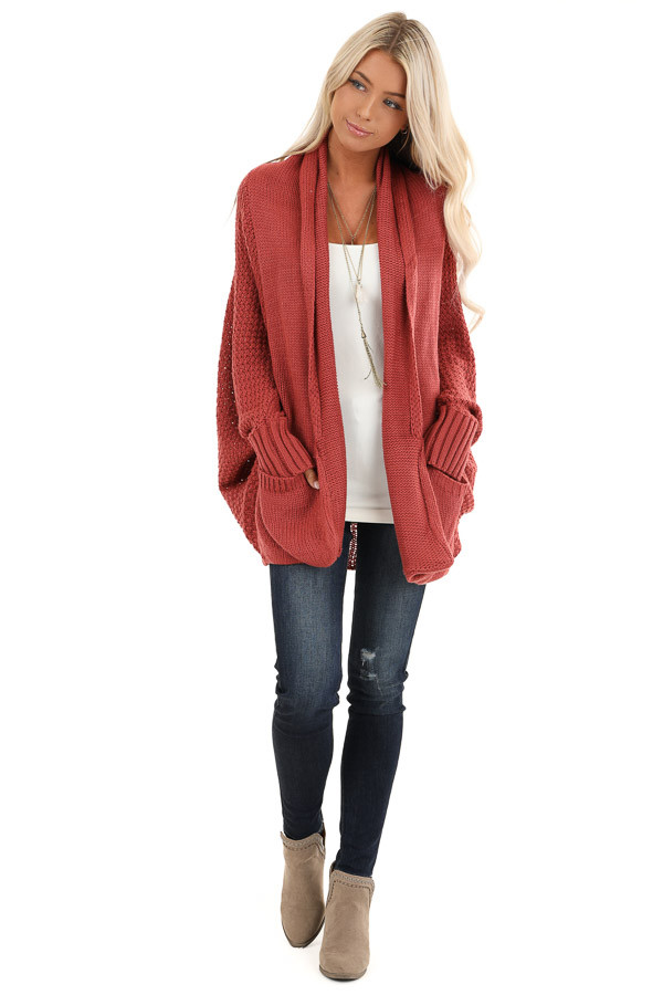 Rust Batwing Sleeve Knit Cardigan with Large Pockets front full body