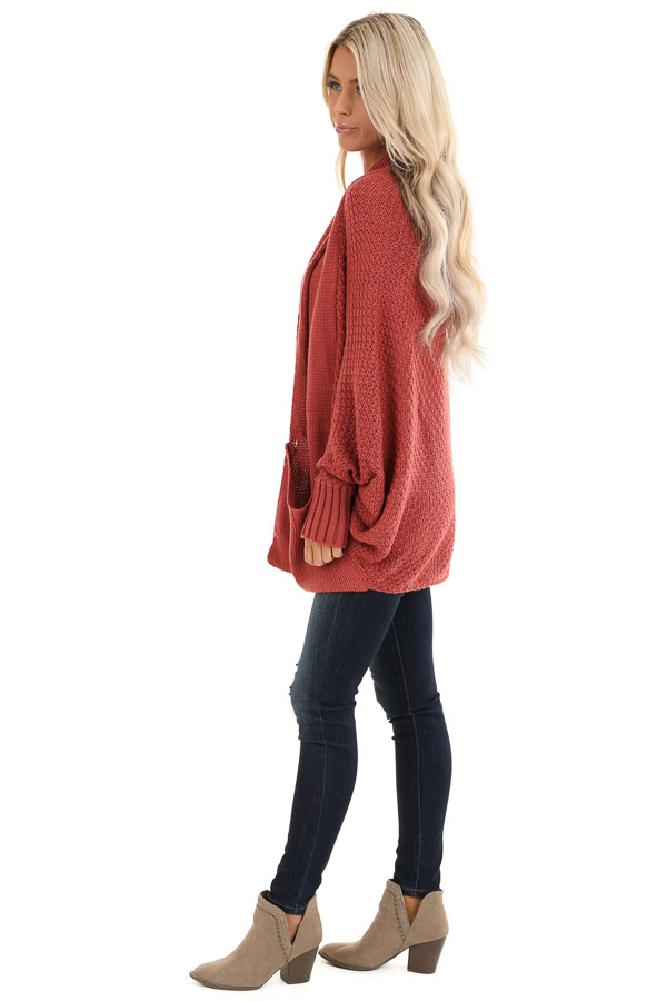 Rust Batwing Sleeve Knit Cardigan with Large Pockets side full body
