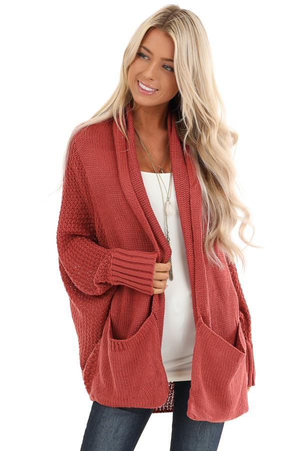 Rust Batwing Sleeve Knit Cardigan with Large Pockets front close up