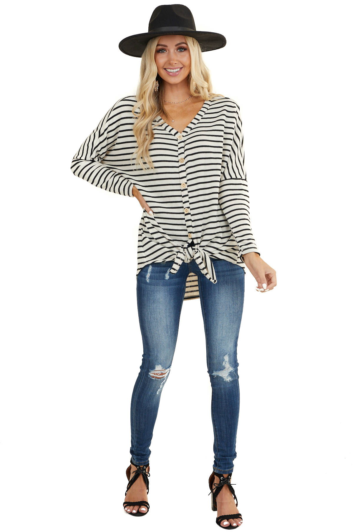 Ivory and Black Striped Top with Tie and Button Front