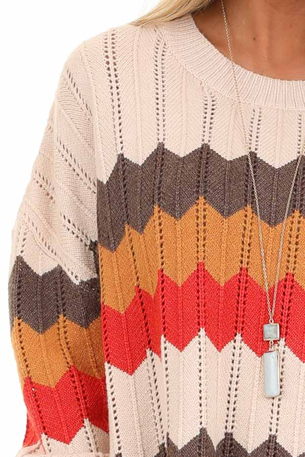 Cream and Orange Chevron Striped Pullover Sweater detail