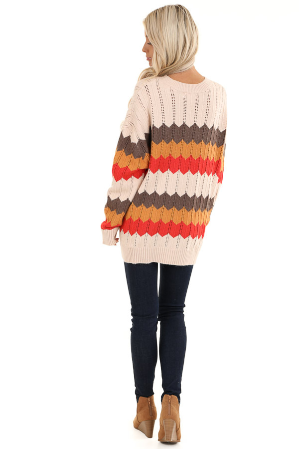 Cream and Orange Chevron Striped Pullover Sweater back full body
