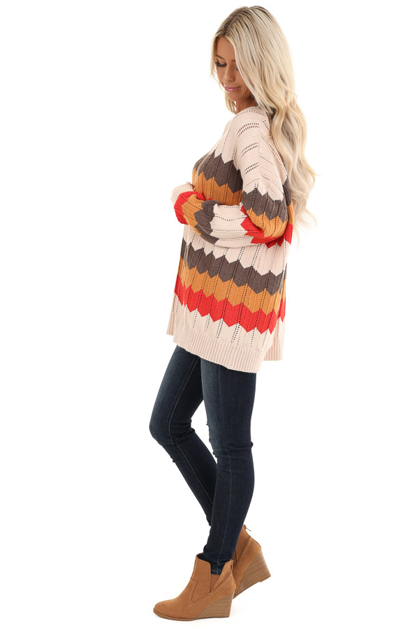 Cream and Orange Chevron Striped Pullover Sweater side full body