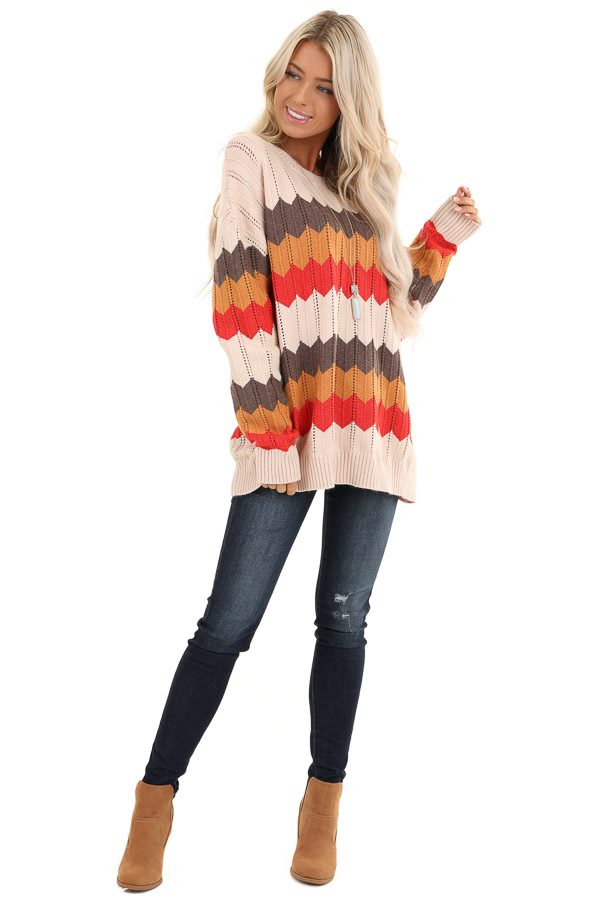 Cream and Orange Chevron Striped Pullover Sweater front full body