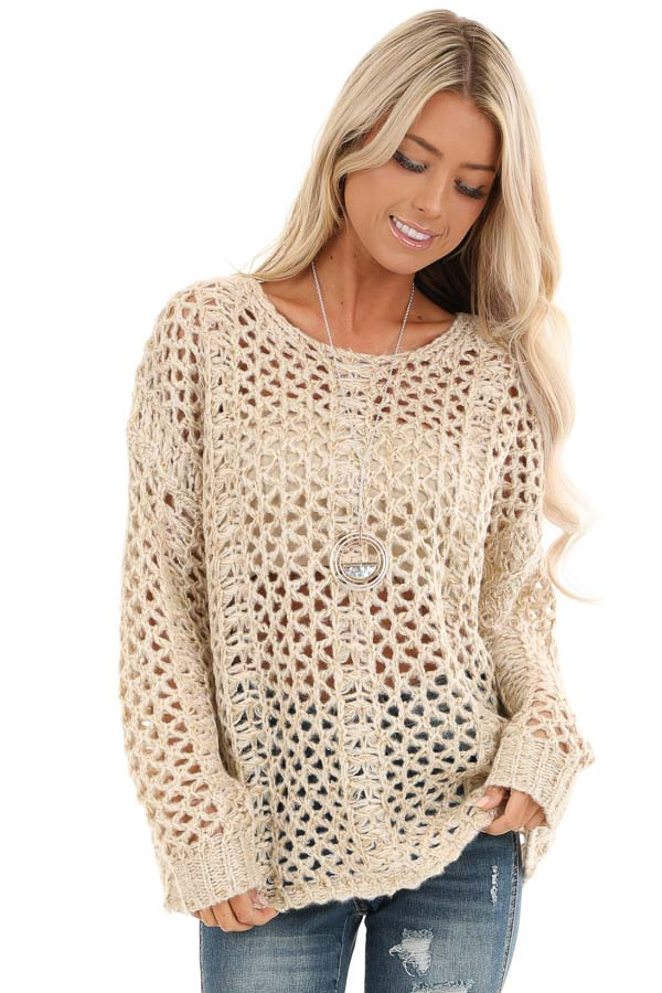 Oatmeal and Metallic Gold Long Sleeve Sheer Knit Sweater front close up