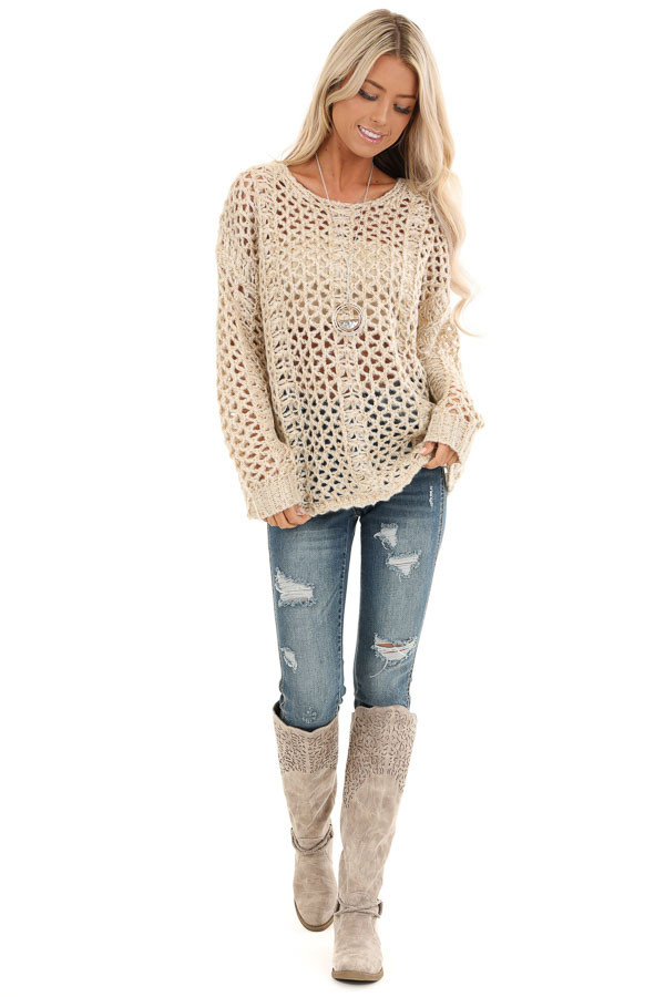 Oatmeal and Metallic Gold Long Sleeve Sheer Knit Sweater front full body