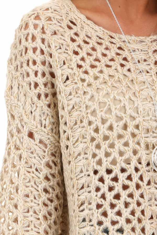 Oatmeal and Metallic Gold Long Sleeve Sheer Knit Sweater detail