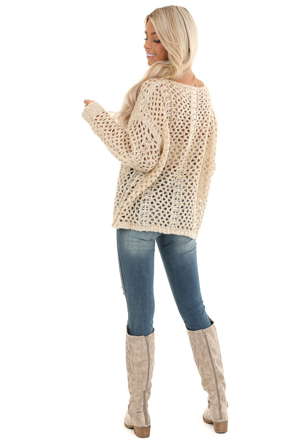 Oatmeal and Metallic Gold Long Sleeve Sheer Knit Sweater back full body