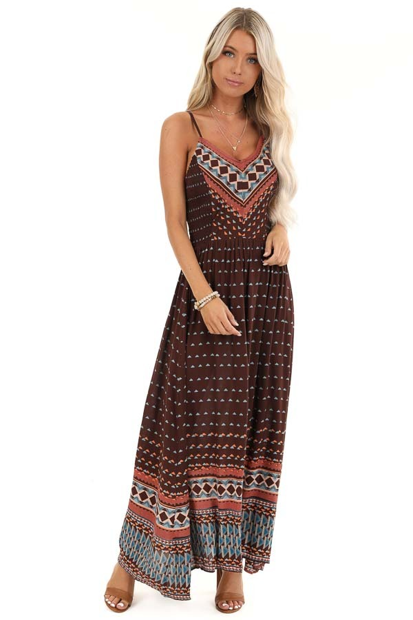 Chocolate Brown Tribal Print Sleeveless Maxi Dress front full body