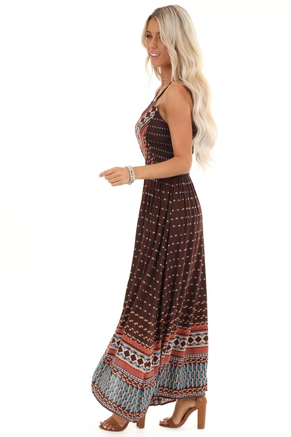 Chocolate Brown Tribal Print Sleeveless Maxi Dress side full body