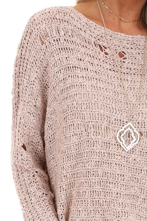 Subtle Blush Distressed Long Sleeve Sweater Top detail