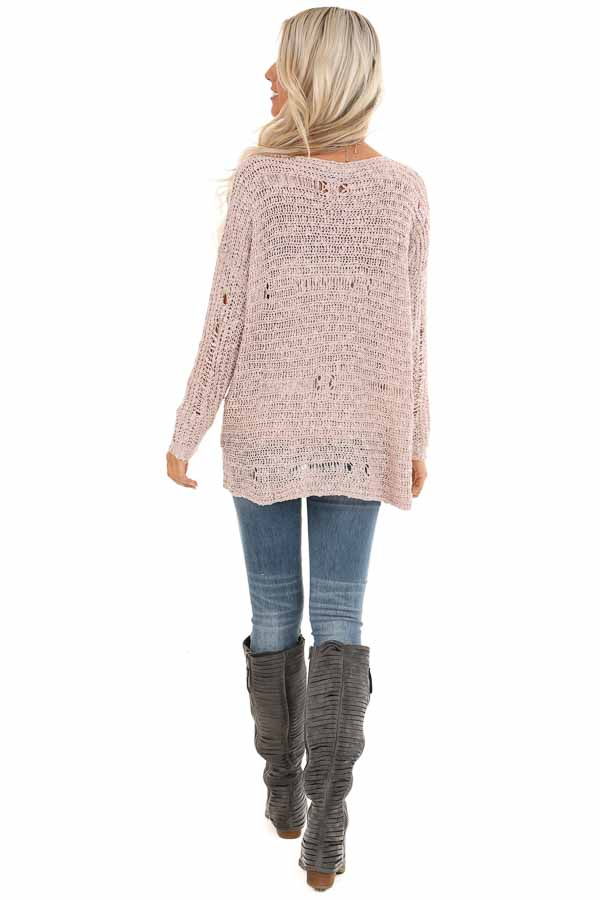 Subtle Blush Distressed Long Sleeve Sweater Top back full body
