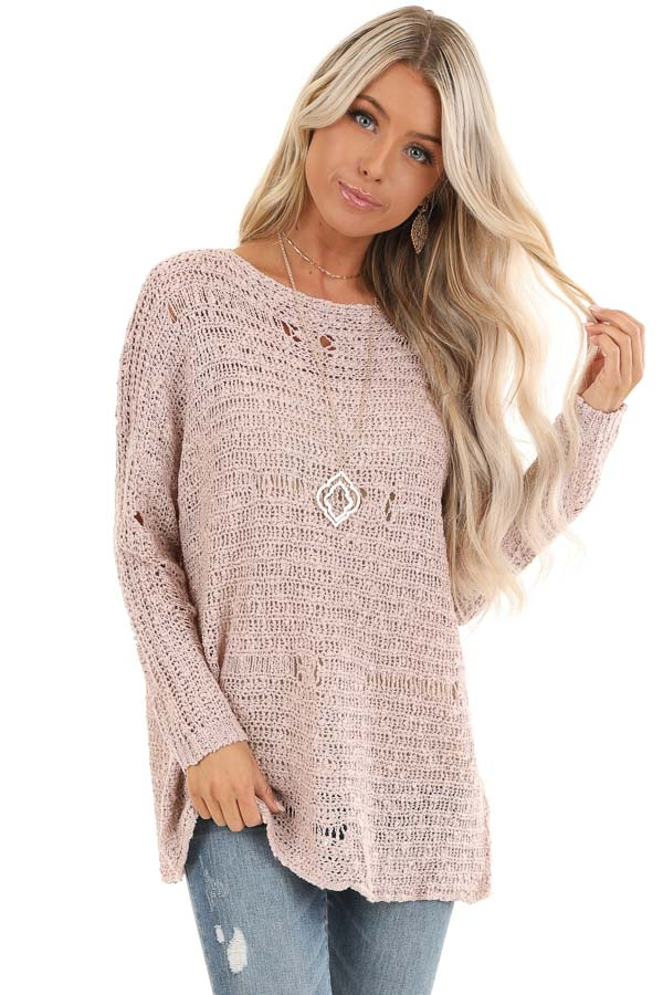 Subtle Blush Distressed Long Sleeve Sweater Top front close up