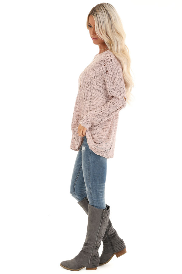 Subtle Blush Distressed Long Sleeve Sweater Top side full body