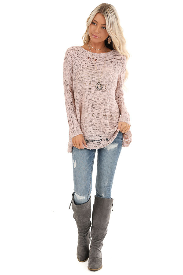 Subtle Blush Distressed Long Sleeve Sweater Top front full body