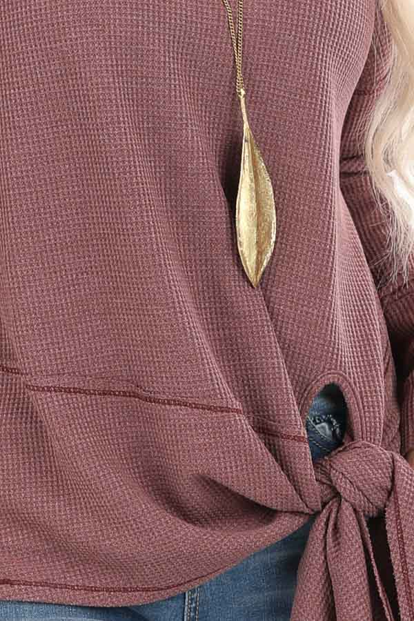 Plum Waffle Knit Top with Side Tie and Raw Edge Detail detail