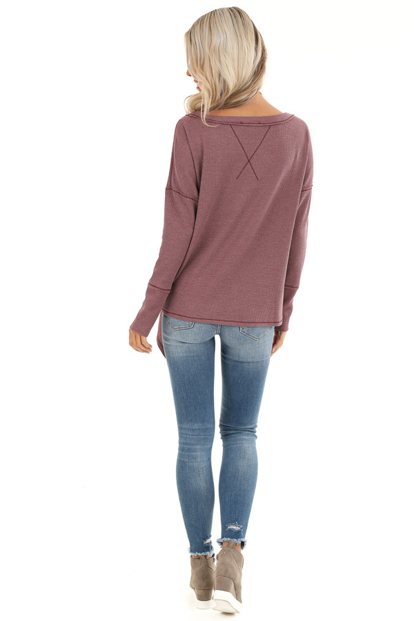 Plum Waffle Knit Top with Side Tie and Raw Edge Detail back full body
