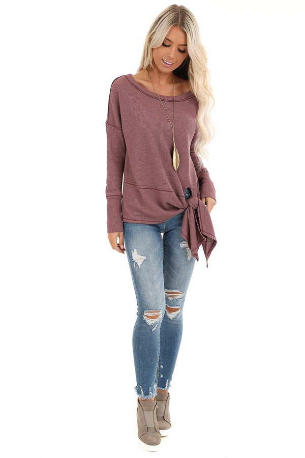Plum Waffle Knit Top with Side Tie and Raw Edge Detail front full body