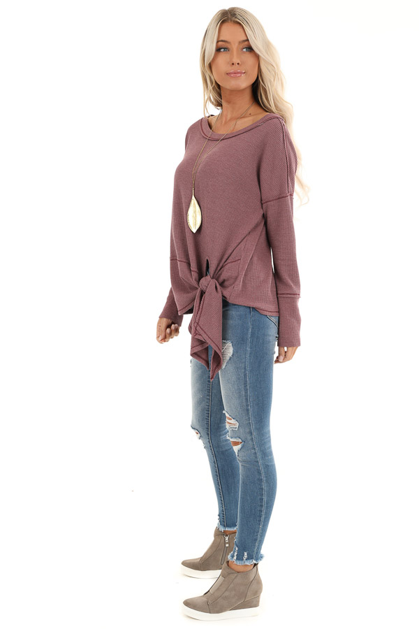 Plum Waffle Knit Top with Side Tie and Raw Edge Detail side full body
