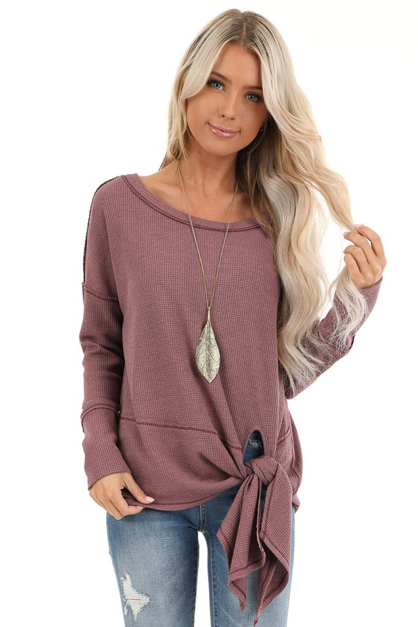 Plum Waffle Knit Top with Side Tie and Raw Edge Detail front close up